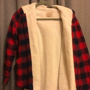 Fleece and flannel jacket